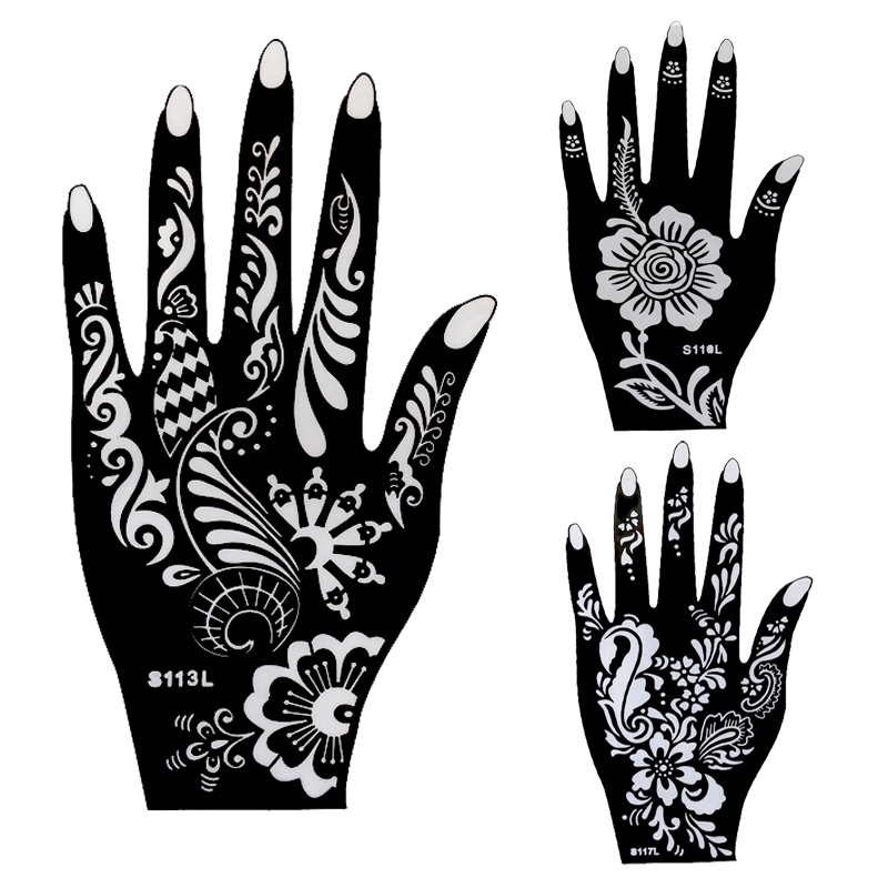 2pcs large henna tattoo stencils flower glitter airbrush mehndi indian henna tatoo templates. Black Bedroom Furniture Sets. Home Design Ideas