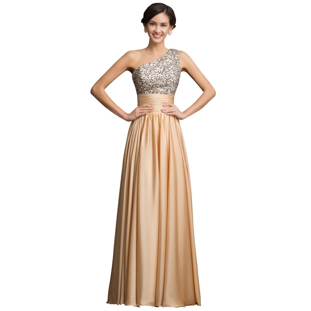 Grace Karin One Shoulder Evening Dress 2016 Floor Length Sequin Dress Galajurk Long Formal Evening Gowns Dresses(China (Mainland))