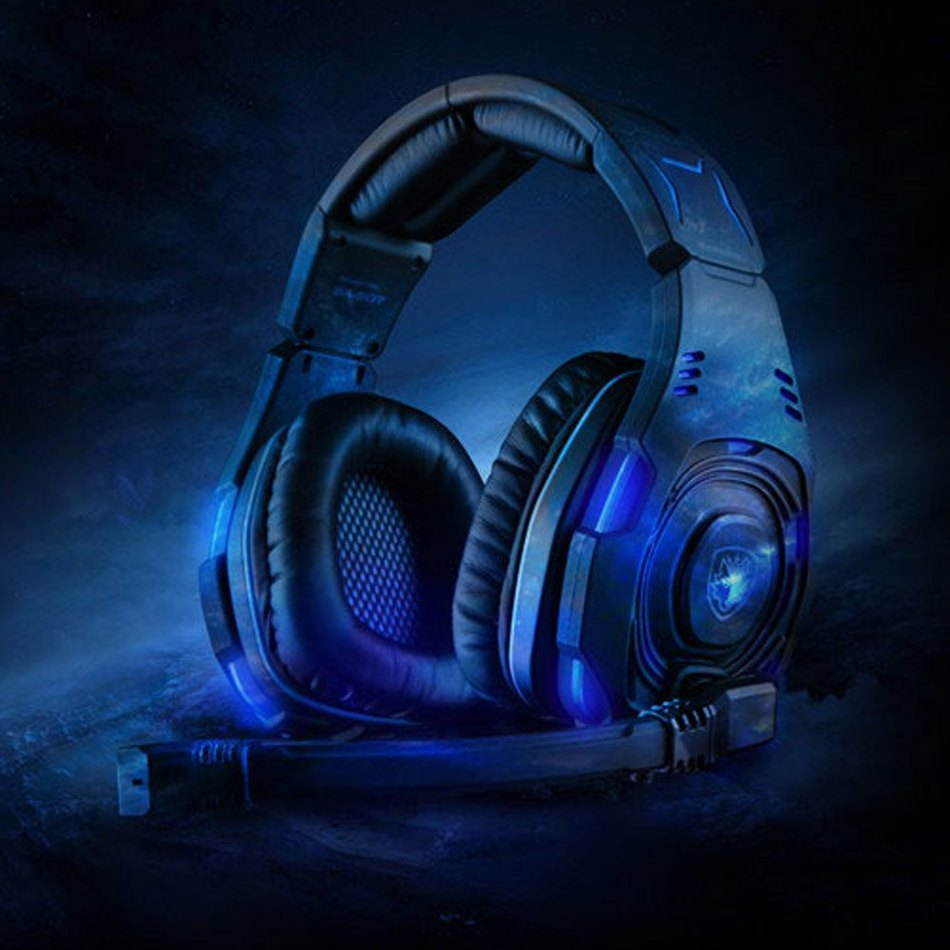 Best Selling Black Sades SA - 907 Wired 7.1 Sound Channel 50mm Driver Unit LED Light USB Gaming Headband with Mic Volume Control(China (Mainland))