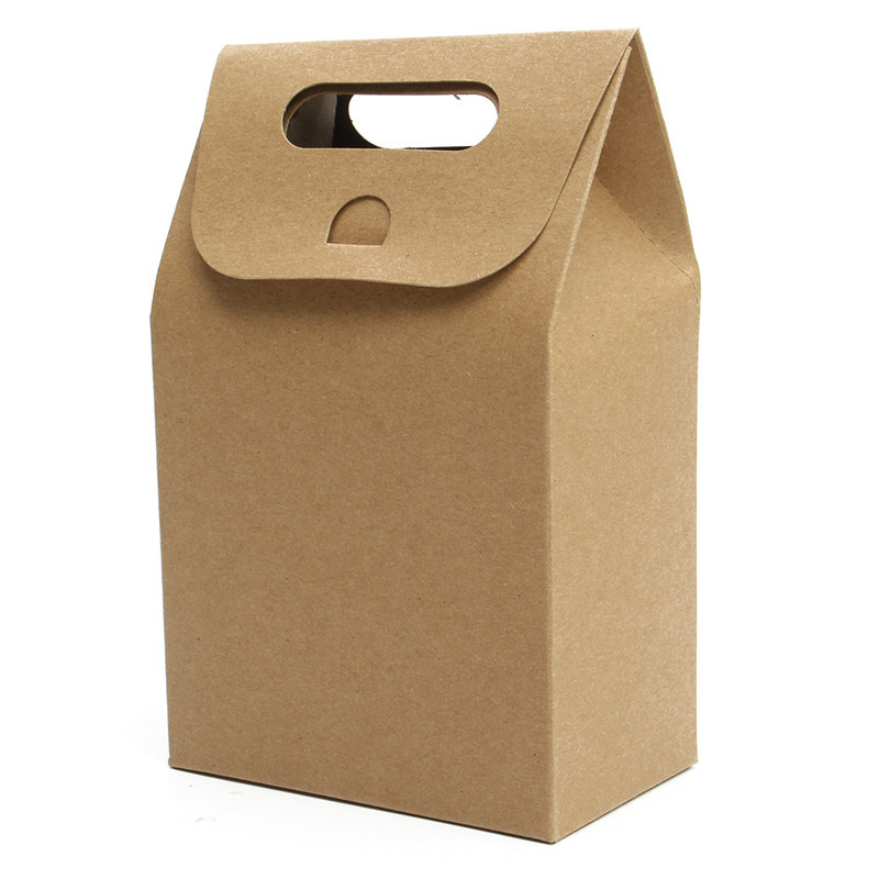 5 PCS Weekends Deal Packaging Real Food Bags 350g Kraft Paper Cake Cookies Packing Bag Flexiloop Handle Package(China (Mainland))