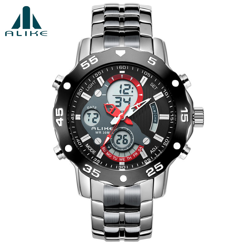 Relogio masculino Luxury Brand Men Military Sports Watches Mens Quartz LED Digital Clock Male Full Steel Waterproof Wristwatch<br><br>Aliexpress