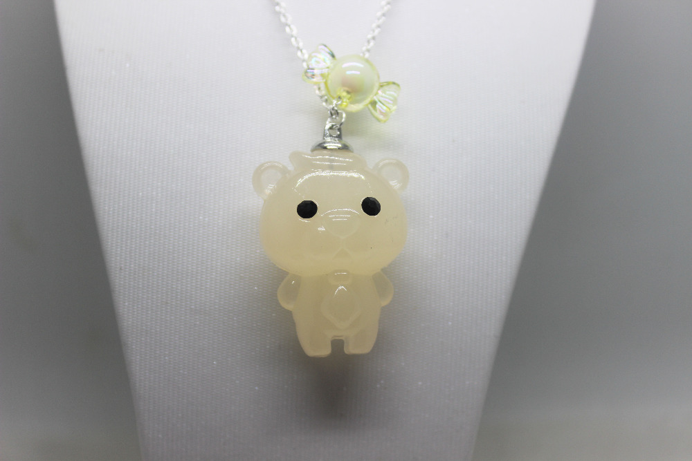 New arrival 6pcs/lot acrylic super cute small bear with sweet beads charm pendant necklace silver chian necklace(China (Mainland))