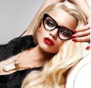 TOP Quality Vintage Inspired Fashion Women's Cat Eye Plain Glasses Chic Eyewear(China (Mainland))