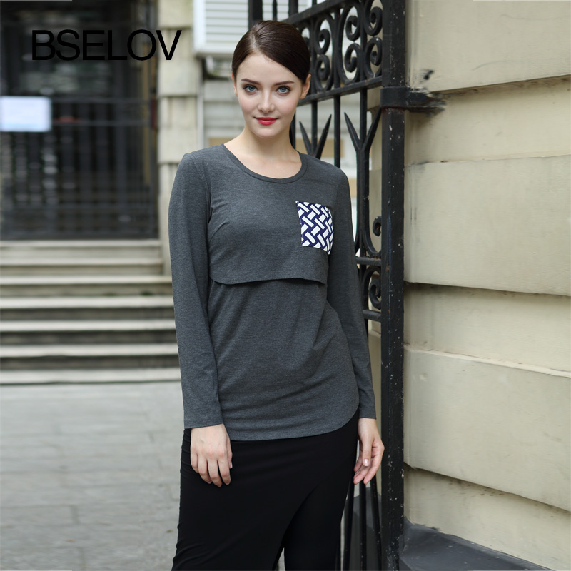 Free shipping O-Neck Long-sleeve Spring/Autumn Bamboo Fiber  Maternity Clothes For Pregnant Woman Retail/Wholesale<br><br>Aliexpress