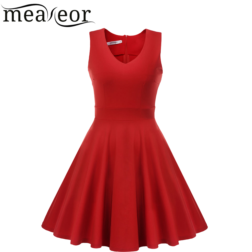Meaneor Women Sleeveless Dress V-neck Pure Color Sundress Slim Casual Party Knee Pleated Dress Dress es 2016 summer dresses(China (Mainland))