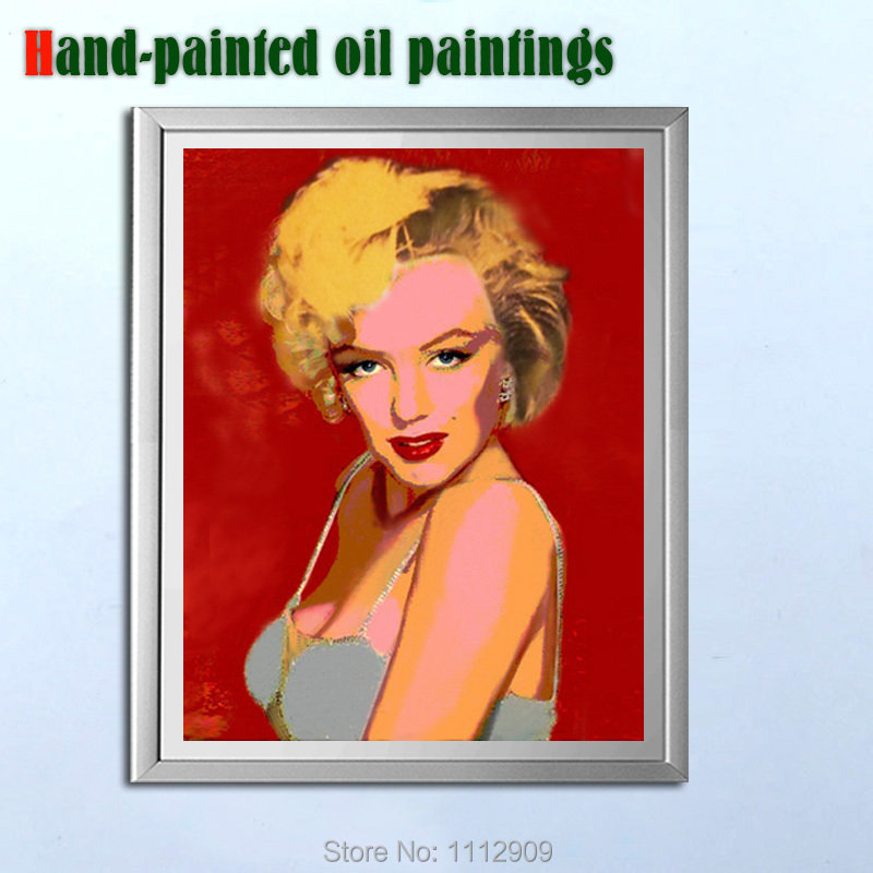 Hand painted modern figure painting on canvas Marilyn Monroe decorative wall art pictures for living room(China (Mainland))