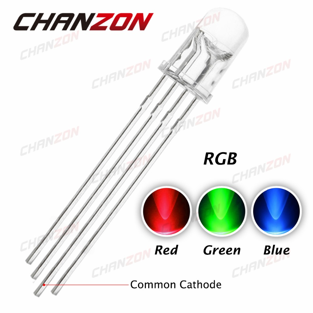 100pcs 5mm RGB LED Common Cathode 4pin Red Green Blue LED Round Tricolor LED Light Emitting Diode 5 mm Transparent Lamp(China (Mainland))