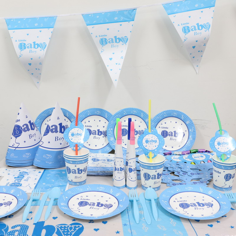 8people 96pcs baby boy shower cartoon paper tablecover plates 1st