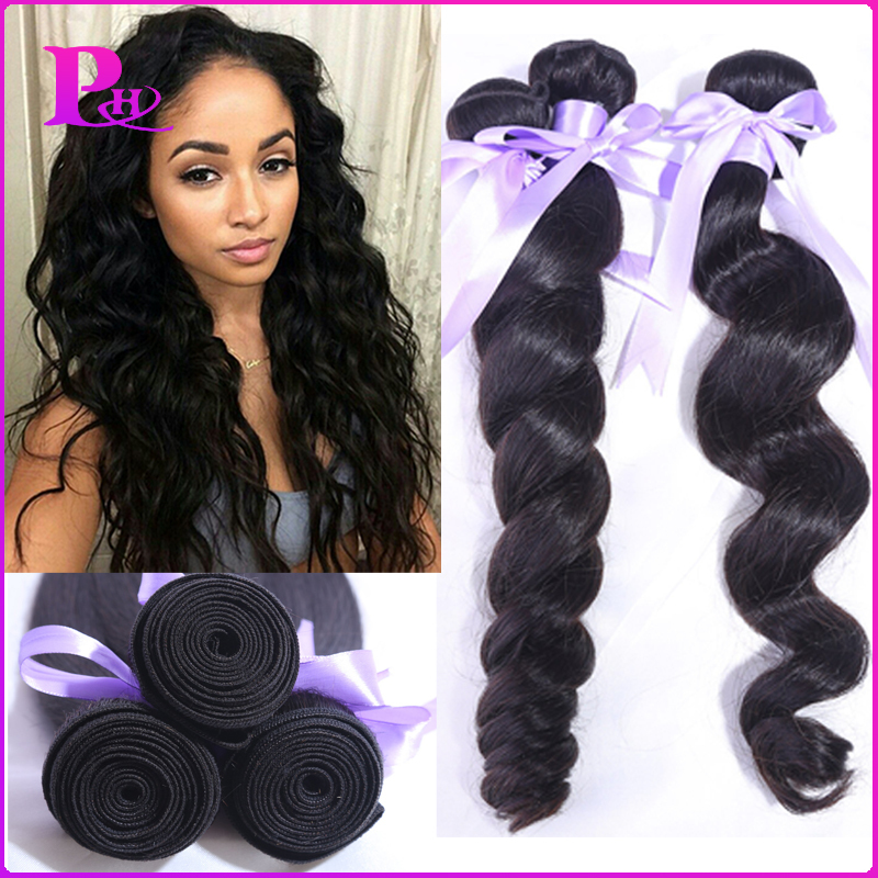 7a Brazilian Loose Wave 4pcs/lot Brazilian Loose Wave Virgin Hair 100g Unprocessed Virgin Brazilian Hair Curly Weave Human Hair(China (Mainland))