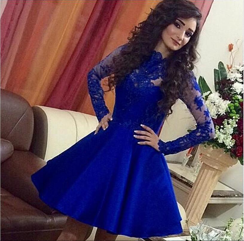 Elegant Royal Blue See through Back Long Sleeve Prom Dresses Gala Plus Size Ireland 2016(China (Mainland))