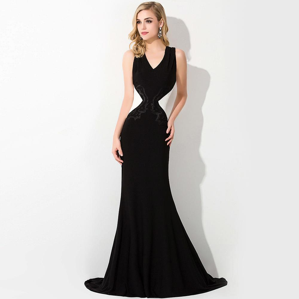 Long Black And White Evening Dresses Uk - Boutique Prom Dresses