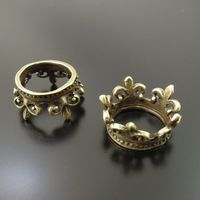 Wholesale Antique Bronze Tone Alloy Crown Pendant Charms Jewelry Finding Hot 10pcs 33729