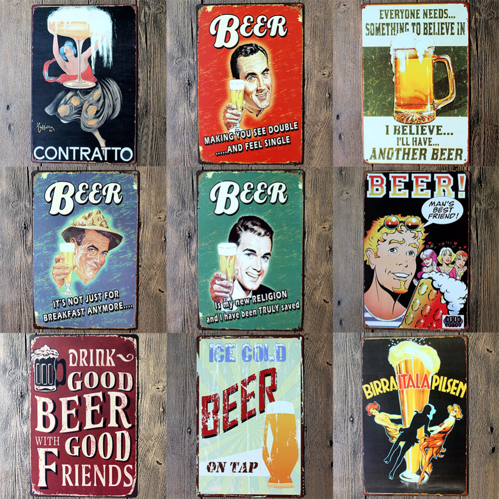 Wall Poster 20*30CM Metal Stickers Tin Sign Pub Club Gallery Poster tips Vintage Plaque Decor Plate New Kinds of Beer Theme(China (Mainland))