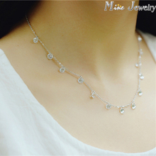Korea Fashion 925 Silver Crystal Beads Necklaces 925 Sterling Silver Necklaces&Pendants Jewelry Collar Colar Free Shipping(China (Mainland))