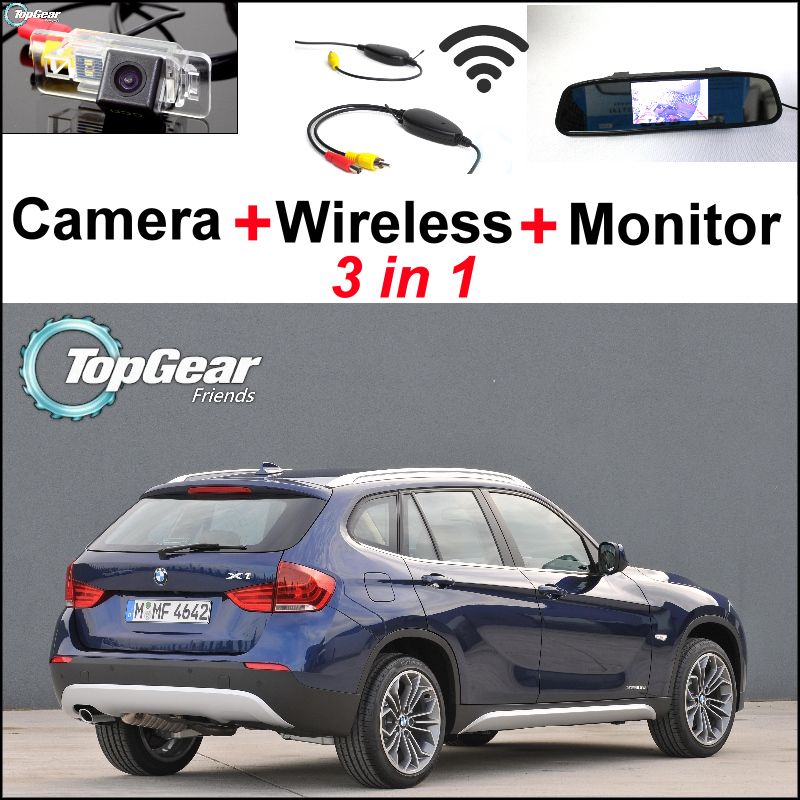 Special WiFi Camera + Wireless Receiver + Mirror Monitor Easy DIY Rear View Back Up Parking Backup System For BMW X1 E84 X3 E83(China (Mainland))