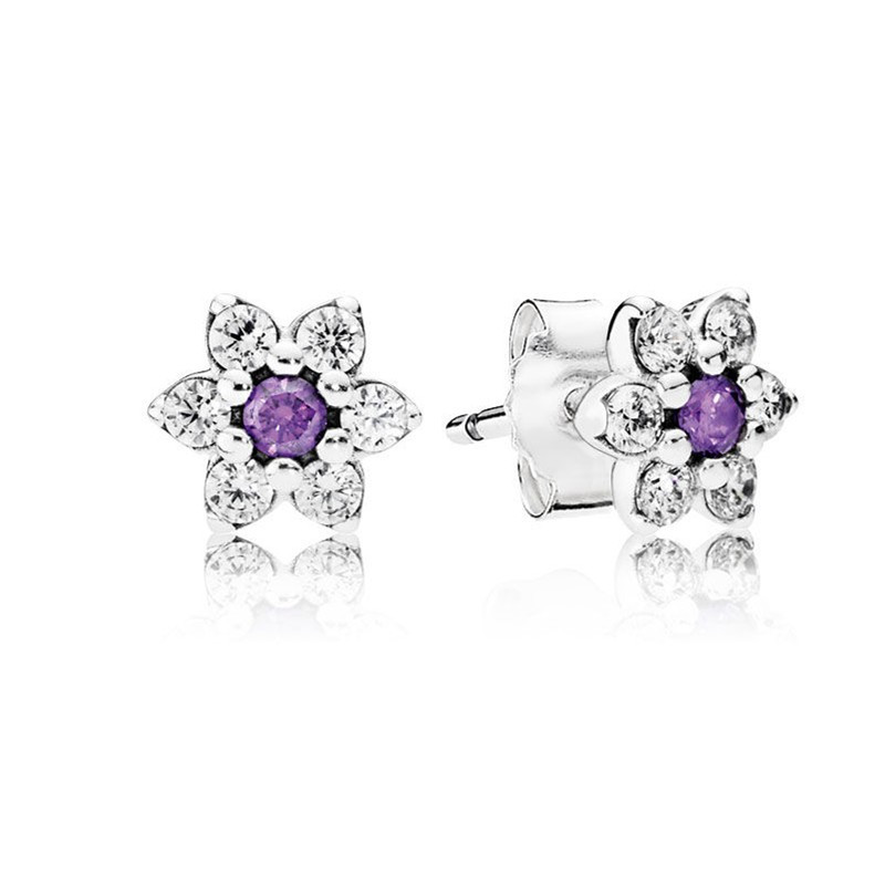2016 New Spring Collection Forget me not Earring Studs 925 sterling silver earrings for women brincos ER043(China (Mainland))