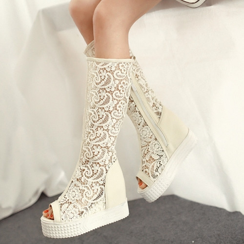 New Arrivals Women Summer Boots Word Fashion Wedges Platform Lace