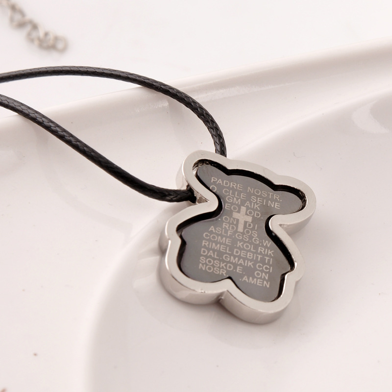 2015 new men style titanium steel Bear Necklace Fashion Bible Bear Jewelry anillos pulseras Gifts Wholesale(China (Mainland))