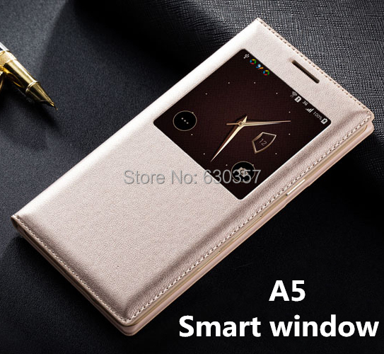 Smart View Window Sleep Function Flip Leather Case For Samsung Galaxy A5 A5000 Mobile Phone case cover(China (Mainland))