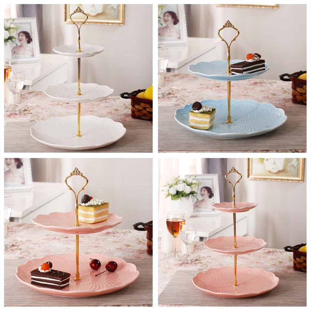 Baby Blue Kitchen Accessories: 3 Tier Bakeware Cake Plate Stand Handle Crown Fitting