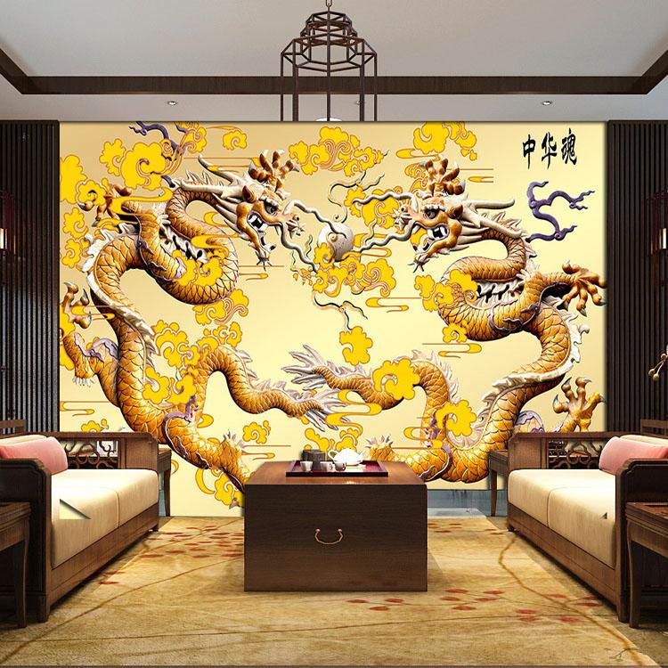 Personnalis sculpture sur bois promotion achetez des for Dragon mural wallpaper