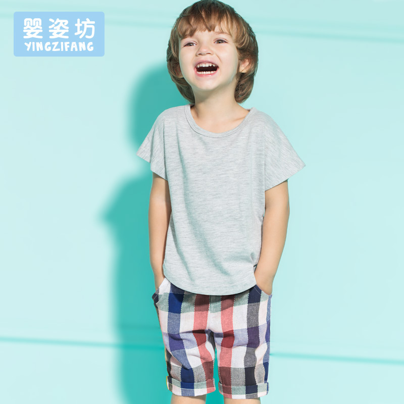 2016 New Summer Casual Baby Boys Summer Short Sleeve T-shirt Tops Clothes Plaid Pants Outfit(China (Mainland))