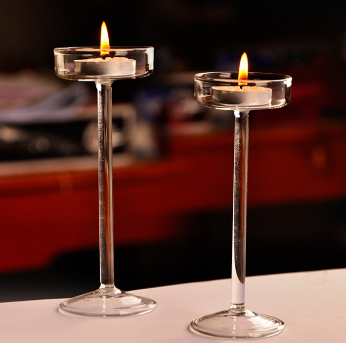 Crystal Glass Candlestick Weeding Home Decor 3 pcs 1 set
