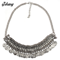 Collares 2016 New Women FashionZA Pendant Necklace Water Drop Gold Silver Coins Chain Bib Chunky Choker