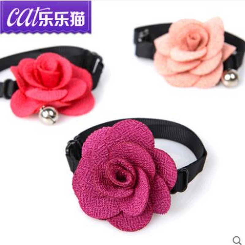 2016 New Fashion Cute Puppy Cats Big Bow Tie Cloth Art Bells Rose Pet Accessories Neck Collar Llmc(China (Mainland))