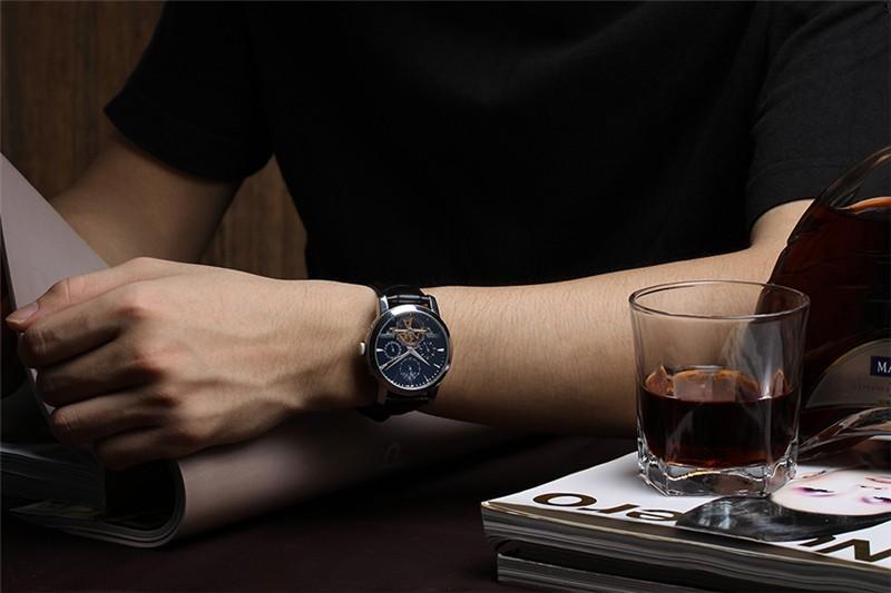 GUANQIN Спортивные Часы Мужчины Новый 24 Часы Moon Phase Relogio Кожаный Аналоговый Военная Бизнес Наручные Мужские Часы