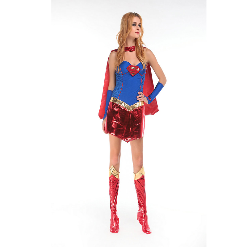 New Fashionable New Design Adult Sexy Cosplay Superwoman Costumes Halloween Supergirl Femme