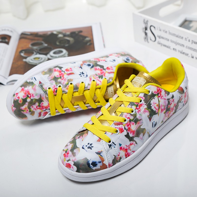 New Arrival Superstar Breathable Women Casual Shoes Outdoor Walking Lace Up Floral Women Shoes Zapatos Mujer Flat Shoes Women