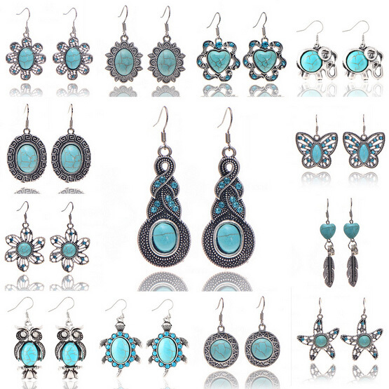 19 Styles Fashion Cheap Fine Jewelry Heat Love Flower Feather Animal Owl Sea Turtle Vintage Silver Turquoise Drop Earrings(China (Mainland))