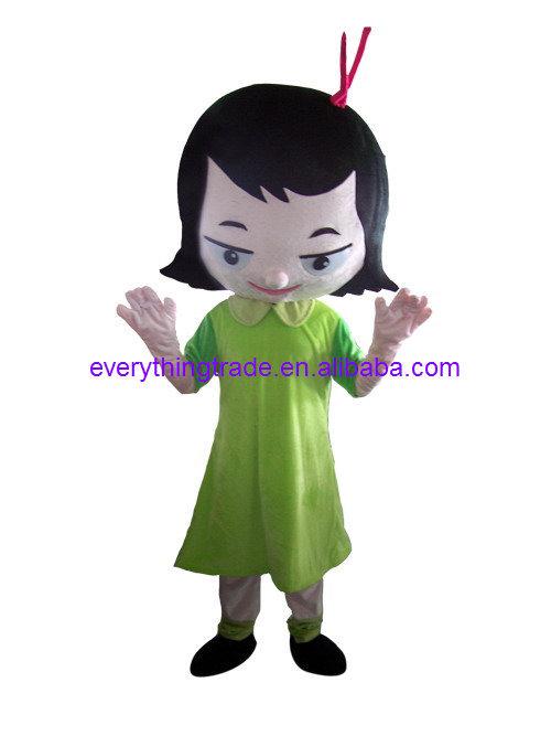 Hot Sale lovely green girl mascot costume mascot costume suit Mascot Costume halloween(China (Mainland))