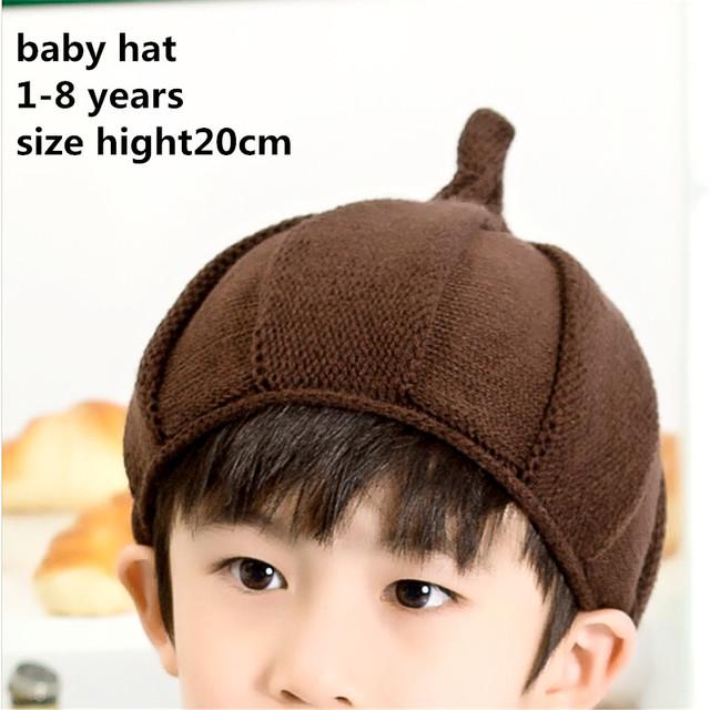 Мода чистый цвет вязание дизайн винт свежие детские шапки зимние шерсти детские шапки ...