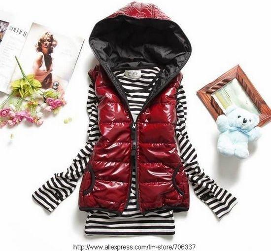 Wholesale&Retail,Winter women's vest, Hooded vest, Women waistcoat, Cotton-padded vest Black/Blue/Red -VT-003