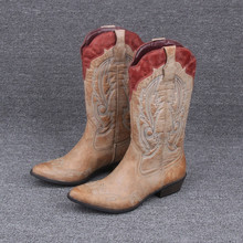 Western Cowboy Boots Pointed Toe Knight Boots Plus Size 6-11 Pu Leather Boots Shoes Women(China (Mainland))