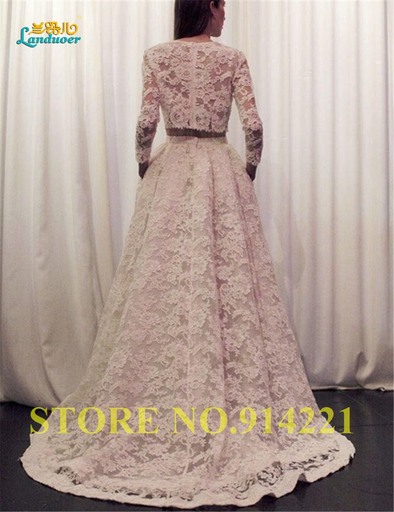 2016 romantic bohemian beach wedding dresses two piece a for Crew neck wedding dress