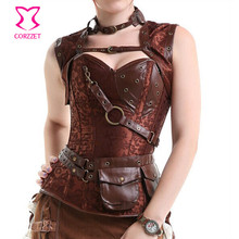 Latex Sexy Steel Boned Brown Vintage Steampunk Corset Corselet Top Women Gothic Overbust Bustiers & Corsets For Waist Training