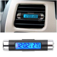 2016 New 2 in1 Car Auto LCD Clip-on Digital Backlight Automotive Thermometer Clock Calendar automotive digital car clock HOT(China (Mainland))
