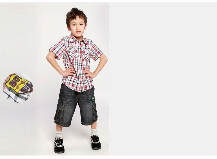 Freeshipping summer children child boy kid blue red yellow for Blue and yellow plaid dress shirt