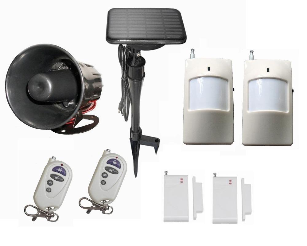 Solar horn siren, solar alarm system,spot alarm PIR motion detector remote control door sensor(China (Mainland))