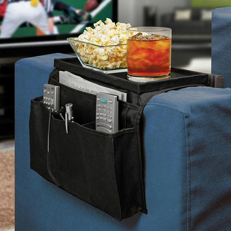 6 Pockets Arm Rest Organizer Remote Control Holder Table Bag Sofa Couch Storage #52530(China (Mainland))