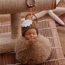 Спящая Детская кукла брелок цветок помпон Кролик Мех шар брелок пушистый автомобильный брелок porte брелок для сумки брелок для ключей(China)
