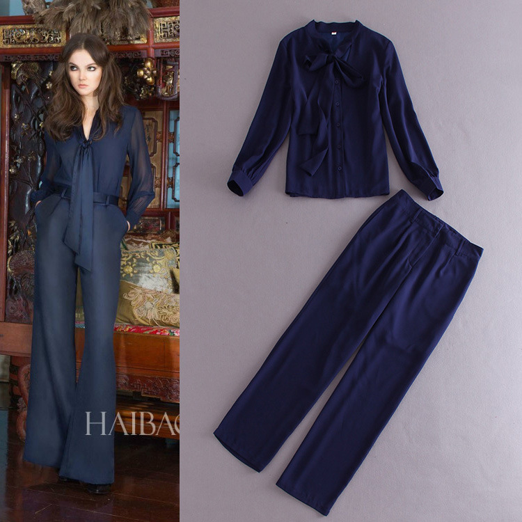 Womens Navy Blue Pant Suit