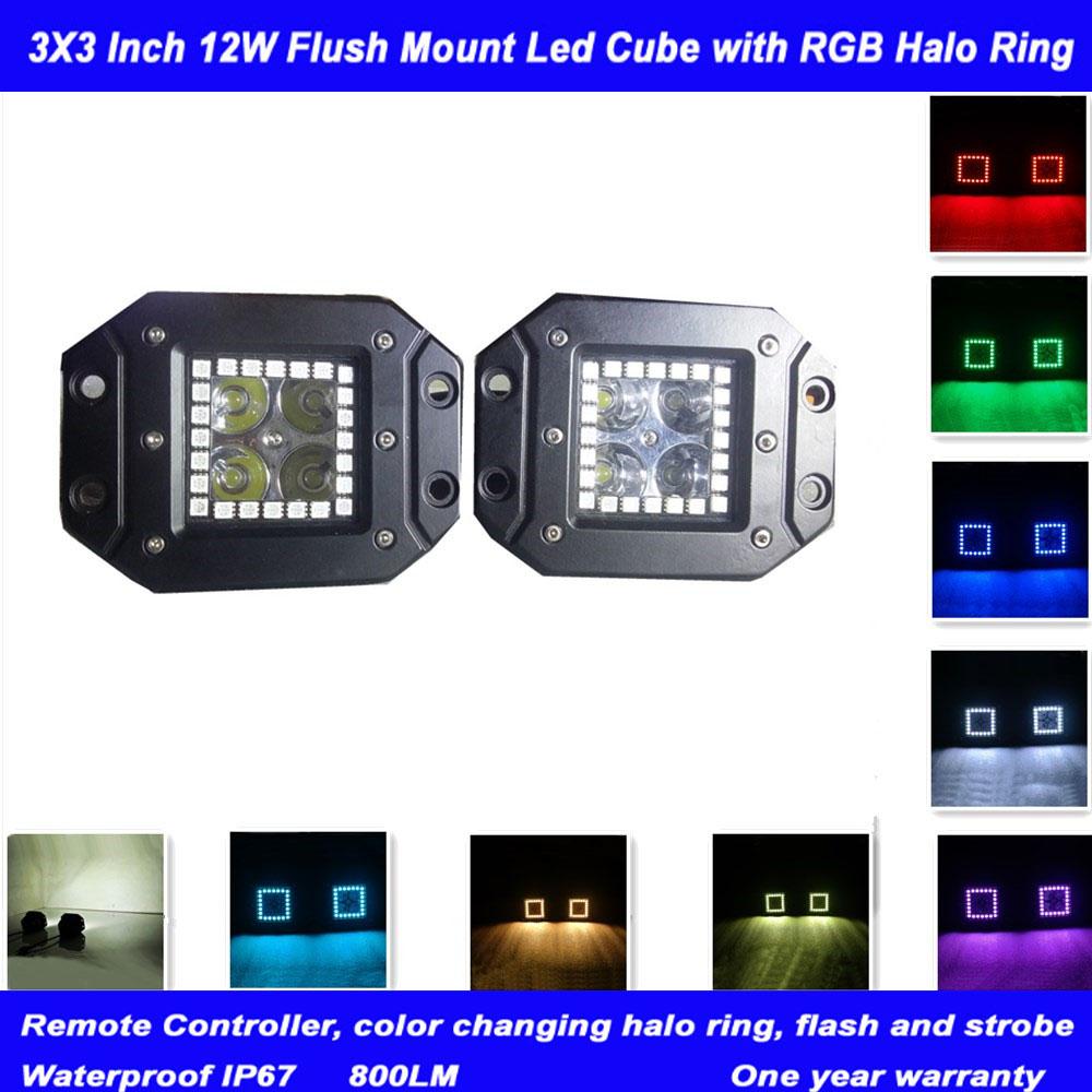 2pcs12W 3x3Inch Led Work Light with RGB5050 Angle Eye Color Changing Led Pod Remote Control Off road ATV SUV 4WD Led Fog Light(China (Mainland))