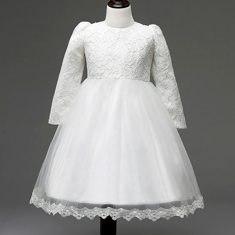 Hot sale lovely girls long sleeve lace dress kids wedding for Long sleeve wedding dress for sale