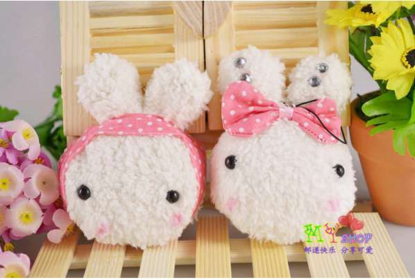 Kawaii Plush TOY For Kids 9.5*8CM Rice Rabbit DOLL Cell Mobile Phone Charm Strap Lanyard BAG Pendant Key Chain Wedding Gift(China (Mainland))