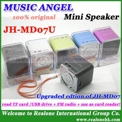 Original MUSIC ANGEL Speaker JH-MD07U Support USB DISK/TF card, FM radio+Card reader+Audio in, Cube Sound box mini speaker!