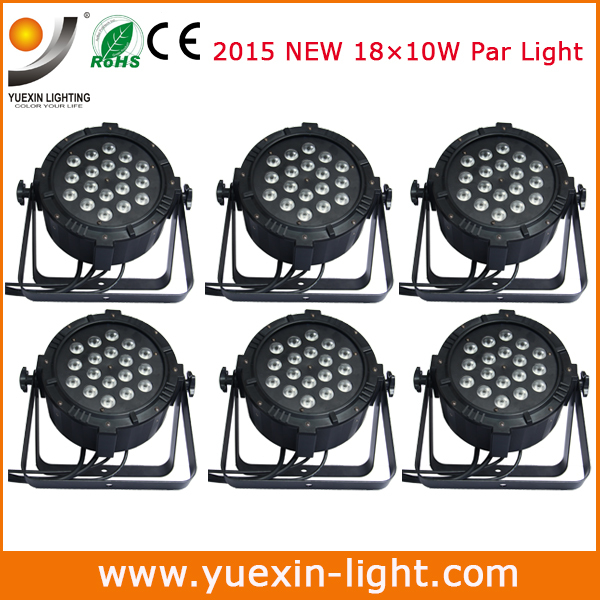 Free shipping 6pcs/lot 18Pcs 10W par light High Power RGB Par Lighting With DMX 512 Master Slave Led Flat DJ Auto-Controller(China (Mainland))